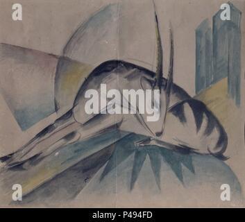 CERVATILLO. Auteur: Franz Marc (1880-1916). Lieu: MUSÉE DES BEAUX-ARTS, Malaga, Espagne. Banque D'Images