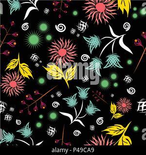 Motif floral Seamless vector. Résumé moderne de style très colorés. Hand drawn, - stock. Ou fond d'arrière-plan, le motif de tissu ou textile. Banque D'Images