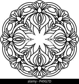 Mandala fleur illustration vectorielle coloriage adultes abstract floral circulaire motif - Motif oriental a imprimer ...