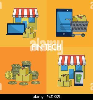 La technologie financière cadres carrés Banque D'Images