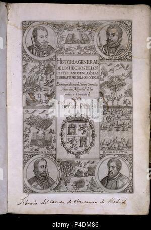 HISTORIA GENERAL DE LOS HECHOS CASTELLANOS EN LAS ISLAS Y TIERRA FIRME DE LAS INDIAS - DECADA VII - SIGLO XVII. Auteur: Antonio Herrera y Tordesillas (1549-1625). Emplacement: CONGRESO DE LOS DIPUTADOS-BIBLIOTECA, MADRID, ESPAGNE.