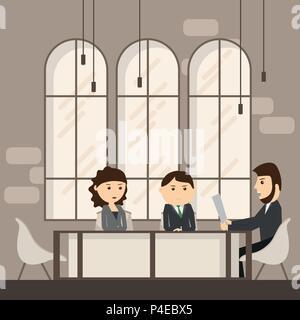 Les gens d'affaires réunion à discuter d'affaires de bureau Télévision Travail Vector Illustration Banque D'Images