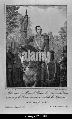 Miliciens DE MADRID - 21 de junio de 1845. Auteur: Wenceslao Ayguals de Izco (1801-1875). Emplacement: MUSEO ROMANTICO-gravure, MADRID. Banque D'Images