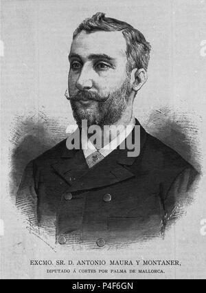 RETRATO DE ANTONIO MAURA Y MONTANER - 1853/1925 - DIPUTADO A POR PALMA DE MAJORQUE - GRAVURE S. Emplacement: BIBLIOTECA NACIONAL-COLECCION, MADRID, ESPAGNE. Banque D'Images