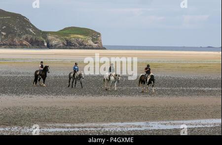 Quatre chevaux et cavaliers sur la plage, au comté de Donegal Irlande Dunfanaghy Banque D'Images