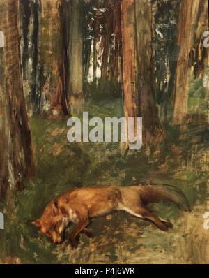 Fox morts gisant dans le sous-Bois - 1864/68 - 93x72 cm - Huile sur toile. Auteur: Edgar Degas (1834-1917). Lieu: MUSÉE DES BEAUX-ARTS, Rouen, France. Aussi connu sous: ZORRO MUERTO, SOTOBOSQUE; RENARD MORT DANS LE SOUS-BOIS. Banque D'Images