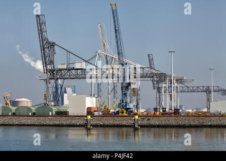 De grandes grues portuaires au port de Rotterdam déménagement gros récipients du métal par les navires , Hollande europoort gros récipients du métal Banque D'Images