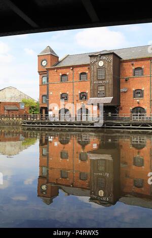 Wigan Pier, rendue célèbre par George Orwell, dans le Lancashire dans le nord-ouest de l'Angleterre, Royaume-Uni Banque D'Images