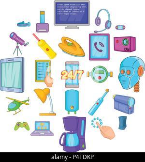 Gadget icons set, cartoon style Banque D'Images