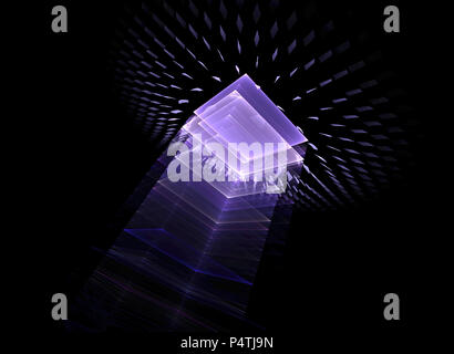 Résumé Contexte technologique - l'image générée sur l'ordinateur. Fractale: un espace de verre avec les effets de lumière. Le concept de Hi-tech ou v Banque D'Images