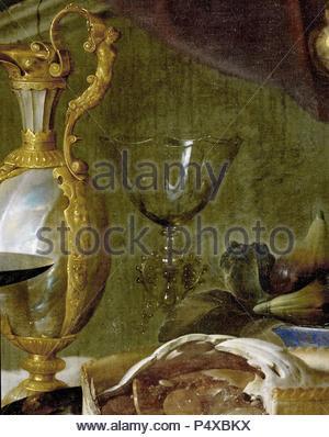 Le Dessert. La nature morte, 1640 huile sur toile, 149 x 203 cm. Détail. Pour la vue d'ensemble veuillez voir 40-05-02/69. INV.1321. Auteur: Jan Davidsz. De Heem (1606-1684). Emplacement: Louvre, Dpt. des peintures, Paris, France. Banque D'Images