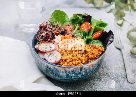 Bol bouddha vegan d'hummus, quinoa au curry, la laitue, les choux vert et rouge, tomates cerise, radis tranchés et les graines de pavot et de sésame Banque D'Images