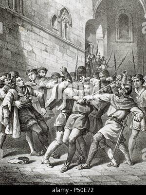 La rébellion de l'Remences. Révolte populaire à la fin de l'Europe médiévale contre pressions seigneuriale qui a commencé en Catalogne en 1462 et a mis fin à une décennie plus tard sans résultat définitif. Ferdinand II d'Aragon (Ferdinand le Catholique') enfin résolu le conflit avec la sentencia arbitral de Guadalupe ( décision arbitrale de Guadalupe) en 1486. Tentative d'assassinat du Roi Ferdinand II d'Aragon à Barcelone le 18 octobre 1492 par un remenc'un vassal. La Catalogne. L'Espagne.