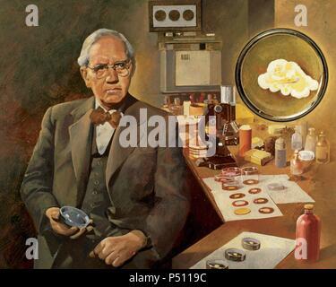 Alexander Fleming (1881-1955). La microbiologiste, découvreur de la pénicilline (1928). Prix Nobel de physiologie et médecine en 1945. Banque D'Images