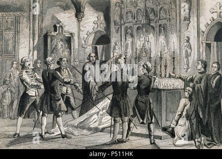 Guerre de Succession d'Espagne (1702-1715). Serment des capitaines de Barcelone qui commande les troupes d'Antonio de Villarroel, commandant en chef de l'Armée de la Catalogne. Gravure par Urbadieta et J. Nicolau. 19e siècle.