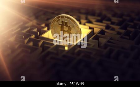 Dans le labyrinthe des bitcoins foncé et un soleil éclatant flare comme un signe de prospérité. Bitcoin est perdu. D'une conception. Le rendu 3D Banque D'Images