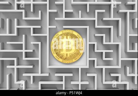 Bitcoin fixant dans le labyrinthe ou dédale. Bitcoin est perdu. D'une conception. Le rendu 3D Banque D'Images