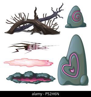 Un ensemble d'objets géologiques et les éléments de la faune sauvage isolé sur fond blanc. Vector illustration. Banque D'Images