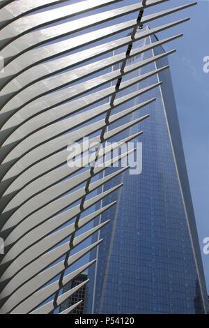 NEW YORK, NY - 29 juin: Calatrava acier extérieur Oculus maille superposé sur WTC1 bâtiment dans Financial District, Manhattan le 29 juin Banque D'Images
