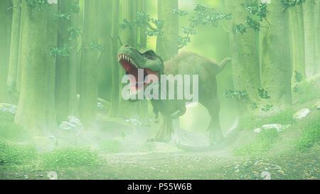 T Rex, dinosaure tyrannosaurus rex marche à travers une forêt de brouillard Banque D'Images