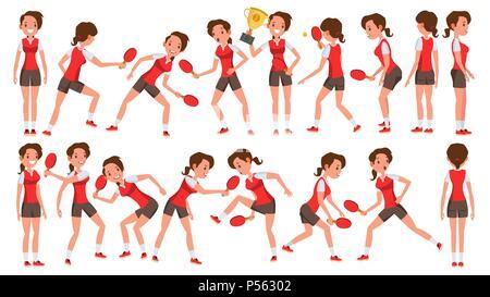 Joueuse de Tennis de table vecteur. Dans l'action. Concept sportif. Joueur stylisée. Personnage de l'illustration Banque D'Images
