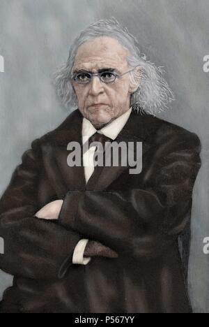 Theodor Mommsen (1817-1903). Juriste et historien allemand. Prix Nobel de Littérature en 1902. La gravure, début du xxe siècle. De couleur. Banque D'Images