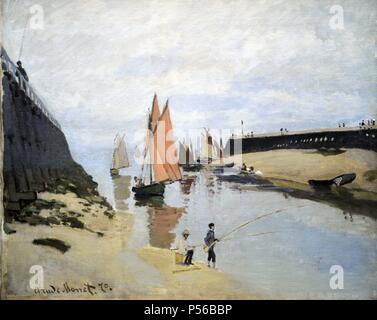Claude Monet (1906-1957). Peintre français, fondateur de la peinture impressionniste français. Le port de Trouville, 1870. Huile sur toile. Musée des beaux-arts de Budapest. La Hongrie. Banque D'Images