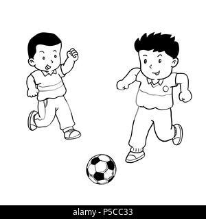 Les garçons dessinés à la main, jouer au soccer, les enfants jouent au soccer, isolé sur fond blanc. Le noir et blanc simple ligne Vector Illustration pour livre de coloriage - Banque D'Images
