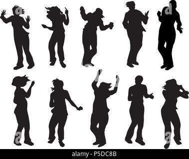 Silhouettes de personnes dansant Banque D'Images