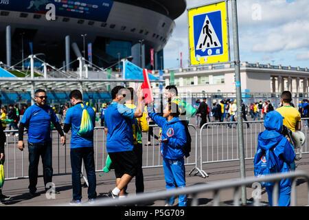 Fans en Russie pendant la Coupe du Monde FIFA 2018 Banque D'Images