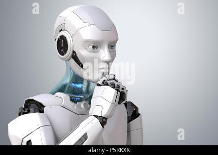 Robot de la pensée. Chemin de détourage inclus. 3D illustration Banque D'Images
