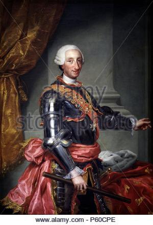 """Anton Rafael Mengs / """"Carlos III"""", ca. L'école allemande, 1761, huile sur toile, 151,1 cm x 109 cm, P02200. Musée: Musée du Prado. Banque D'Images"""