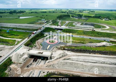 Le projet de chemin de fer ligne Hanze en construction à l'emplacement de la nouvelle gare, Holland Banque D'Images