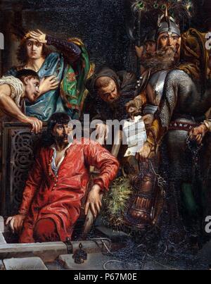 Peinture intitulé 'Macko Borkowic'. Peint par Jan Matejko Alojzy (1838-1893) peintre polonais connu pour des peintures historiques notables événements politiques et militaires polonais. Datée 1873 Banque D'Images