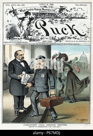 """La réforme de la fonction publique cohérente' Le Président Cleveland de remettre un document qui indique: """"re-nomination pour l'honnêteté et l'efficacité"""" de Henry G. Pearson pour sa nomination comme ministre des Postes à New York. Pearson est porteur d'une zone """"la confiance de la population"""". Dans l'arrière-plan, sont Whitelaw Reid avec dagger marqués 'N.Y. Tribune' et Charles A. Dana avec dagger marqués 'N.Y. Sun'; apparaissent tous les deux en colère qu'un système efficace et honnête citoyen a été nommé à un poste dans la fonction publique. Banque D'Images"""
