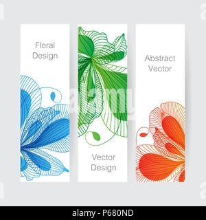 Ensemble de bannières, design floral fleur Banque D'Images