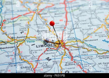 Limoges (France) sur la carte Photo Stock - Alamy