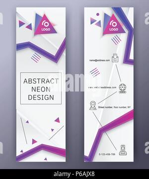 Bannières blanc vertical avec néon bleu rose abstract design., fin d'icônes. Technologie Vector background. Banque D'Images