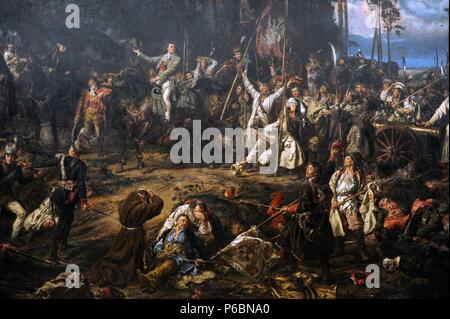 Jan Matejko (1838-1893). Peintre polonais. Abaddon dans la bataille de Raclawice, 1888. Musée National de Cracovie. La Pologne. Banque D'Images