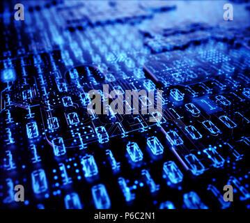 3D illustration. Résumé Contexte des codes binaires sur un affichage numérique, technologie concept. Banque D'Images