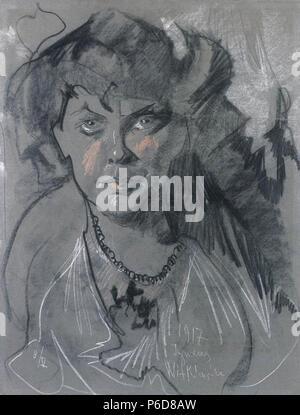 Polski: 'Portret kobiety', na papierze pastel, 67 x 51,3 cm, wasno prywatna . 8 mai 1917 81 Witkacy-Portret kobiety 9
