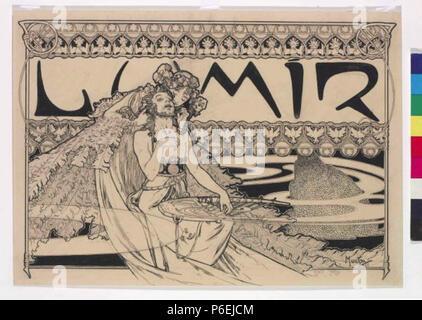 . Eština asopisu Záhlaví: Lumír 18986 Autor Alfons Mucha 24.7.1860-14.7,1939 - Zahlavi casopisu Lumir