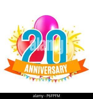 20 ans anniversaire modèle félicitations, cartes de Vœux avec des ballons Invitation Vector ...