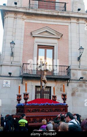 Procession de la Semaine sainte, Plaza de la Villa, Madrid, Espagne. Banque D'Images