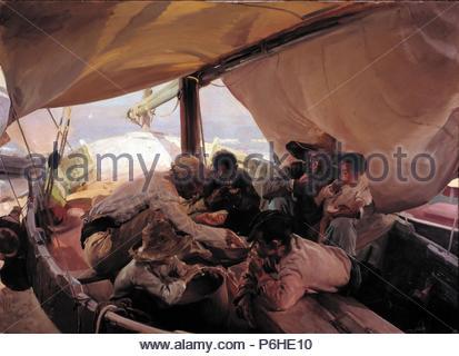 La nourriture dans le bateau de pêche, 1898, huile sur toile, 180 x 250 cm. Musée: REAL ACADEMIA DE BELLAS ARTES DE SAN FERNANDO. Banque D'Images