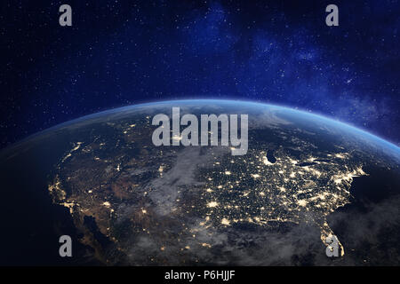 Amérique du Nord la nuit vue de l'espace avec les lumières de la ville, montrant l'activité humaine dans la région de United States (USA), le Canada et le Mexique, New York, la Californie, 3d r Banque D'Images