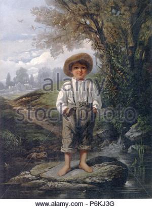 Pieds nus de Whittier garçon; L. Prang & Co.; Johnson, Eastman, 1824-1906 , artiste, John Greenleaf Whittier,, 1807-1892.; Boston: Chromolithographed et publié par L. Prang & Co., no 159 Washington St., c1868.; 1 print: chromolithographie; 33,9 x 25,7 cm. (Feuille); impression montre un portrait en pied d'un jeune garçon aux pieds nus, debout sur un rocher dans un ruisseau au bord d'une zone boisée avec une cabine à l'arrière-plan. Banque D'Images