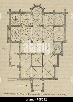 1920-06, Boletín de la Sociedad Española de Excursiones, Santa María del Campo, planta de la iglesia, Vicente Lampérez. Banque D'Images