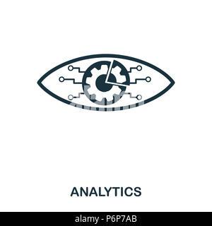 L'icône de l'analytique. L'icône de style de ligne design. L'ASSURANCE-CHÔMAGE. Illustration de l'icône de l'analytique. Les pictogrammes isolé sur blanc. Prêt à utiliser dans la conception de sites web, applications, logiciels, p Banque D'Images