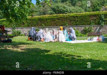 Glasgow, Ecosse, Royaume-Uni. 2 juillet, 2018. Météo France: un groupe de femmes asiatiques assis sur l'herbe un pique-nique sur un après-midi ensoleillé de Pollok Country Park. Credit: Skully/Alamy Live News Banque D'Images
